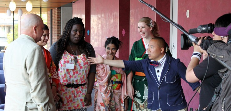 """""""Near the end of our stay we got filmed by local television channel Mentai Wide. Here the host is asking our professor (far left) if we're good students,"""" Anupa says."""