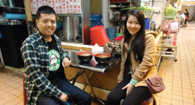 Kevin Lee meets up with fellow Exchange Participant, Peggy Chen, in Taiwan