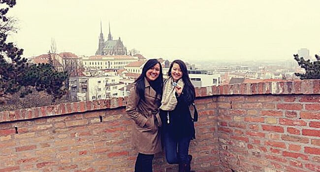 Peggy Chen and intern Jessica from Indonesia, at the famous Špilberk Castle in Brno