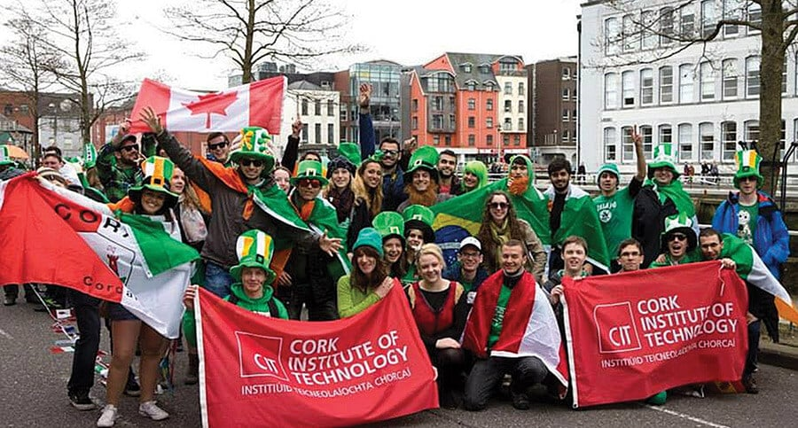 Canadian students at the St. Patrick's Day Parade in 2014 (Cork, Ireland)