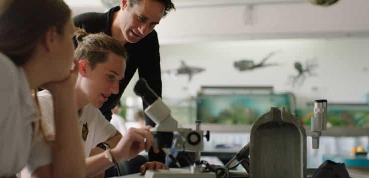 Marine science class at Whakatane High School in New Zealand